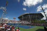 A general view is seen as Eugenie Bouchard of Canada takes on Anastasija Sevastova of Latvia during day one of the 2019 US Open at the USTA Billie Jean King National Tennis Center on August 26, 2019 in the Flushing neighborhood of the Queens borough of New York City.