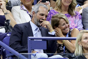 John Molner and Katie Couric attend the Women's Singles first round match between Maria Sharapova of Russia and Serena Williams of the United States during day one of the 2019 US Open at the USTA Billie Jean King National Tennis Center on August 26, 2019 in the Flushing neighborhood of the Queens borough of New York City.