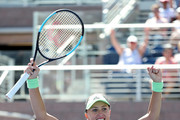 Kristina Mladenovic of France celebrates winning during her women's singles first round match against  Angelique Kerber of Germany during day one of the 2019 US Open at the USTA Billie Jean King National Tennis Center on August 26, 2019 in the Flushing neighborhood of the Queens borough of New York City.