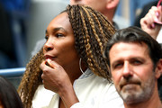 Venus Williams watches the Women's Singles final match between Serena Williams of the United States and Bianca Andreescu of Canadaon day thirteen of the 2019 US Open at the USTA Billie Jean King National Tennis Center on September 07, 2019 in the Queens borough of New York City.