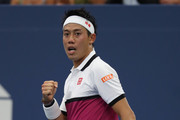 Kei Nishikori of Japan reacts during his Men's Singles second round match against Bradley Klahn of the United States on day three of the 2019 US Open at the USTA Billie Jean King National Tennis Center on August 28, 2019 in the Flushing neighborhood of the Queens borough of New York City.