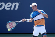 Kei Nishikori of Japan returns a shot during his Men's Singles third round match Alex de Minaur of Australia on day five of the 2019 US Open at the USTA Billie Jean King National Tennis Center on August 30, 2019 in Queens borough of New York City.