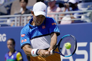 Kei Nishikori of Japan returns a shot during his Men's Singles third round match against Alex de Minaur of Australia on day five of the 2019 US Open at the USTA Billie Jean King National Tennis Center on August 30, 2019 in Queens borough of New York City.