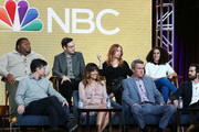 "(Top L-R) Leonard Ouzts, Nelson Franklin, Jessica Chaffin, Kimia Behpoornia, (Bottom L-R) Michael Schur, Natalie Morales, Neil Flynn, and Josh Malmuth speak on the ""Abby's"" panel during the NBCUniversal portion of the Television Critics Association Winter Press Tour at The Langham Huntington, Pasadena on January 29, 2019 in Pasadena, California."