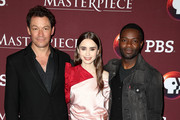 """(L-R) Dominic West, Lily Collins, and David Oyelowo of the television show """"Les Miserables"""" attend the PBS segment of the 2019 Winter Television Critics Association Press Tour at The Langham Huntington, Pasadena on February 01, 2019 in Pasadena, California."""