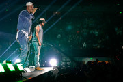 (EDITORIAL USE ONLY. NO COMMERCIAL USE) (L-R) Tyler Hubbard and Brian Kelley of Florida Georgia Line perform onstage during the 2019 iHeartCountry Festival Presented by Capital One at the Frank Erwin Center on May 4, 2019 in Austin, Texas.