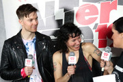 <<EDITORIAL USE ONLY. NO COMMERCIAL USE>> (L-R) Matt Johnson and Kim Schifino of Matt and Kim speak with Tamo backstage during 2019 iHeartRadio ALTer Ego at The Forum on January 19, 2019 in Inglewood, California.