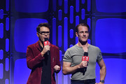 (L-R) Bobby Bones and James Van Der Beek speak onstage during the 2019 iHeartRadio Music Festival at T-Mobile Arena on September 20, 2019 in Las Vegas, Nevada.