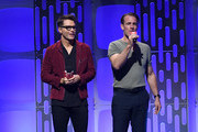 (EDITORIAL USE ONLY) (L-R)  Bobby Bones and James Van Der Beek presents onstage during the 2019 iHeartRadio Music Festival at T-Mobile Arena on September 20, 2019 in Las Vegas, Nevada.