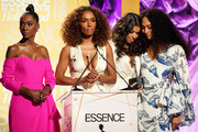 (L-R) Angelica Ross, Janet Mock, Hailie Sahar and Mj Rodriguez speak onstage during the 2020 13th Annual ESSENCE Black Women in Hollywood Luncheon at Beverly Wilshire, A Four Seasons Hotel on February 06, 2020 in Beverly Hills, California.
