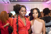(L-R) Aja Naomi King and Bresha Webb attend the 2020 13th Annual ESSENCE Black Women in Hollywood Luncheon at Beverly Wilshire, A Four Seasons Hotel on February 06, 2020 in Beverly Hills, California.
