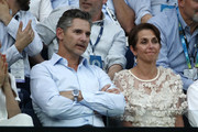 Actor Eric Bana watches the Semifinal match between Roger Federer of Switzerland and Novak Djokovic of Serbia on day eleven of the 2020 Australian Open at Melbourne Park on January 30, 2020 in Melbourne, Australia.