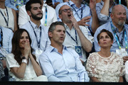 Actor Eric Bana and his wife Rebecca Gleeson watch the Semifinal match between Roger Federer of Switzerland and Novak Djokovic of Serbia on day eleven of the 2020 Australian Open at Melbourne Park on January 30, 2020 in Melbourne, Australia.