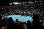 Novak Djokovic of Serbia celebrates winning championship point after his Men's Singles Final against Dominic Thiem of Austria on day fourteen of the 2020 Australian Open at Melbourne Park on February 02, 2020 in Melbourne, Australia.