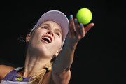 Caroline Wozniacki of Denmark serves during her Women's Singles third round match against Ons Jabeur of Tunisia on day five of the 2020 Australian Open at Melbourne Park on January 24, 2020 in Melbourne, Australia.