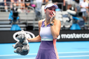 Caroline Wozniacki of Denmark sheds a tear after losing her Women's Singles third round match against Ons Jabeur of Tunisia on day five of the 2020 Australian Open at Melbourne Park on January 24, 2020 in Melbourne, Australia.