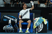 Fabio Fognini of Italy celebrates to his team  after his straight set victory in his Men's Singles third round match against Guido Pella of Argentina on day five of the 2020 Australian Open at Melbourne Park on January 24, 2020 in Melbourne, Australia.