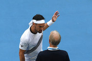 Fabio Fognini of Italy argues with the court referee during his Men's Singles fourth round match against Tennys Sandgren of the United States on day seven of the 2020 Australian Open at Melbourne Park on January 26, 2020 in Melbourne, Australia.