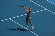 Petra Kvitova of Czech Republic plays a forehand smash during her Women's Singles Quarterfinal match against Ashleigh Barty of Australia on day nine of the 2020 Australian Open at Melbourne Park on January 28, 2020 in Melbourne, Australia.