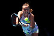 Petra Kvitova of Czech Republic plays a backhand during her Women's Singles Quarterfinal match against Ashleigh Barty of Australia on day nine of the 2020 Australian Open at Melbourne Park on January 28, 2020 in Melbourne, Australia.