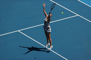 Petra Kvitova of Czech Republic plays a backhand smash during her Women's Singles Quarterfinal match against Ashleigh Barty of Australia on day nine of the 2020 Australian Open at Melbourne Park on January 28, 2020 in Melbourne, Australia.