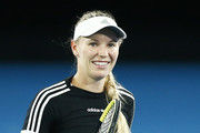 Caroline Wozniacki of Denmark reacts during practice ahead of the 2020 Australian Open at Melbourne Park on January 16, 2020 in Melbourne, Australia.