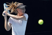 Maria Sharapova of Russia practices ahead of the 2020 Australian Open at Melbourne Park on January 12, 2020 in Melbourne, Australia.