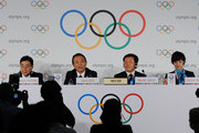 LAUSANNE, SWITZERLAND -JULY 3: Taro Aso (2nd L), Finance and Deputy Prime Minister speaks at  a press conference during the IOC 2020 Candidate Cities Briefing on July 3, 2013 in Lausanne, Switzerland.