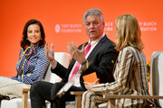 Partner & Member of the Management Committee Goldman Sachs Dina Powell McCormick, COO Bank of America Tom Montag and Tory Burch speak onstage during the 2020 Embrace Ambition Summit by the Tory Burch Foundation at Jazz at Lincoln Center on March 05, 2020 in New York City.