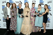 "(L-R) Chelsea Barnard, Jessica Elbaum, Katie Silberman, Olivia Wilde, Kaitlyn Dever, Beanie Feldstein and Billie Lourd pose in the press room with the Best First Feature award for the film ""Booksmart"" during the 2020 Film Independent Spirit Awards on February 08, 2020 in Santa Monica, California."