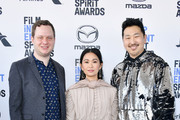 (L-R) Joe Pirro, Hong Chau, and Andrew Ahn attend the 2020 Film Independent Spirit Awards on February 08, 2020 in Santa Monica, California.