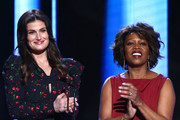 (L-R) Idina Menzel and Alfre Woodard speak onstage during the 2020 Film Independent Spirit Awards on February 08, 2020 in Santa Monica, California.