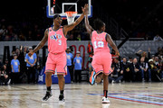 Quentin Richardson #3 and Chelsea Gray #12 of Team Wilbon celebrate during the 2020 NBA All-Star Celebrity Game Presented By Ruffles at Wintrust Arena on February 14, 2020 in Chicago, Illinois. NOTE TO USER: User expressly acknowledges and agrees that, by downloading and or using this photograph, User is consenting to the terms and conditions of the Getty Images License Agreement.