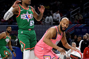 Common #25 of Team Wilbon dribbles the ball while being guarded by Quavo #91 of Team Stephen A. during the 2020 NBA All-Star Celebrity Game Presented By Ruffles at Wintrust Arena on February 14, 2020 in Chicago, Illinois. NOTE TO USER: User expressly acknowledges and agrees that, by downloading and or using this photograph, User is consenting to the terms and conditions of the Getty Images License Agreement.