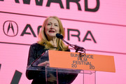 Patricia Clarkson speaks onstage during the 2020 Sundance Film Festival Awards Night Ceremony at Basin Recreation Field House on February 01, 2020 in Park City, Utah.