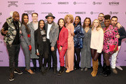 "Jay Pharoah, Kelly Rowland, James Van Der Beek, Elle Lorraine, Director Justin Simien, Robin Thede, Michelle Hurd, Ashley Blaine, Daheli Hall, Julia Lebedev, Producer Eddie Vaisman, Yaani King Mondschein, and Angel Lopez attend the ""Bad Hair"" premiere during the 2020 Sundance Film Festival at The Ray on January 23, 2020 in Park City, Utah."