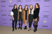 """(L-R) Miriam Shor, Molly Brown, Oona Laurence,  Amy Ryan and Lola Kirke attend the 2020 Sundance Film Festival - """"Lost Girls"""" Premiere at Eccles Center Theatre on January 28, 2020 in Park City, Utah."""