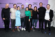 "(L-R) Matt Friedman, Max Barbakow, Cristin Milioti, Andy Samberg, Camila Mendes, Andy Siara, Becky Sloviter, and Avika Schaffer attend the 2020 Sundance Film Festival - ""Palm Springs"" Premiere at Library Center Theater on January 26, 2020 in Park City, Utah."