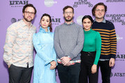 "(L-R) Director Max Barbakow, Cristin Milioti, Andy Samberg, Camila Mendes, and Screenwriter Andy Siara attend the 2020 Sundance Film Festival - ""Palm Springs"" Premiere at Library Center Theater on January 26, 2020 in Park City, Utah."