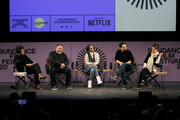 (L-R) Carrie Mae Weems, Ai Weiwei, Kerry Washington, Lin-Manuel Miranda and Julie Taymor speak on stage at the 2020 Sundance Film Festival - Power Of Story: Just Art Panel at Egyptian Theatre on January 25, 2020 in Park City, Utah.