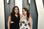(L-R) Sharon Lyn Chalkin and Beanie Feldstein attend the 2020 Vanity Fair Oscar Party hosted by Radhika Jones at Wallis Annenberg Center for the Performing Arts on February 09, 2020 in Beverly Hills, California.