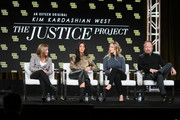 Farnaz Farjam, Kim Kardashian West, Jessica Jackson and Vince Dipersio of 'The Justice Project' speaks onstage during the 2020 Winter TCA Tour Day 12  at The Langham Huntington, Pasadena on January 18, 2020 in Pasadena, California.