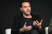 "Jack Huston of ""Manhunt: Deadly Games"""" speaks on stage during the Spectrum Originals/Lionsgate Television segment of the 2020 Winter TCA Tour at The Langham Huntington, Pasadena on January 18, 2020 in Pasadena, California."