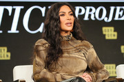 """Kim Kardashian West of """"The Justice Project"""" speaks onstage during the 2020 Winter TCA Tour Day 12  at The Langham Huntington, Pasadena on January 18, 2020 in Pasadena, California."""