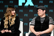 (L-R) Natasia Demetriou and Harvey Guillen of 'What We Do in the Shadows' speak during the FX segment of the 2020 Winter TCA Tour at The Langham Huntington, Pasadena on January 09, 2020 in Pasadena, California.