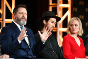 (L-R) Nick Offerman, Jin Ha, and Alison Pill of 'Devs' speak during the FX segment of the 2020 Winter TCA Tour at The Langham Huntington, Pasadena on January 09, 2020 in Pasadena, California.
