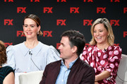 (L-R) Sarah Paulson, Ryan Fleck, and Elizabeth Banks of 'Mrs. America' speak during the FX segment of the 2020 Winter TCA Tour at The Langham Huntington, Pasadena on January 09, 2020 in Pasadena, California.