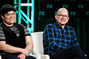 (L-R) Harvey Guillen and Mark Proksch of 'What We Do in the Shadows' speak during the FX segment of the 2020 Winter TCA Tour at The Langham Huntington, Pasadena on January 09, 2020 in Pasadena, California.