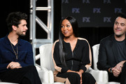 (L-R) Ben Whishaw, Emyri Crutchfield, and Jack Huston of 'Fargo' speak during the FX segment of the 2020 Winter TCA Tour at The Langham Huntington, Pasadena on January 09, 2020 in Pasadena, California.