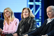 "(L-R) Claire Danes, Lesli Linka Glatter and Howard Gordon of ""Homeland"" speak during the Showtime segment of the 2020 Winter TCA Press Tour at The Langham Huntington, Pasadena on January 13, 2020 in Pasadena, California."